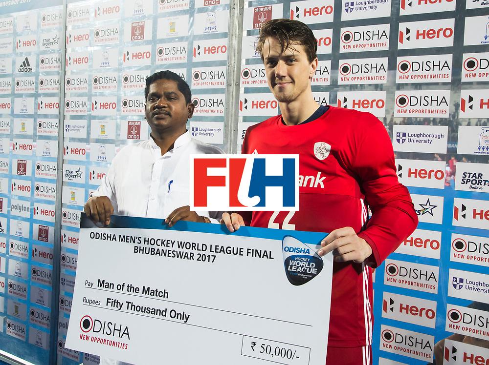 BHUBANESWAR - keeper Sam van der Ven (Ned) , player of the match, na de Hockey World League Final wedstrijd Belgie-Nederland (3-0).   COPYRIGHT KOEN SUYK
