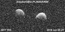 July 12, 2018 - Space - Bi-static radar images of the binary asteroid 2017 YE5 from the Arecibo Observatory and the Green Bank Observatory on June 25. The observations show that the asteroid consists of two separate objects in orbit around each other. (Credit Image: © NASA/ZUMA Wire/ZUMAPRESS.com)