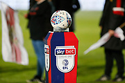 Mitre Match Ball on a Sky Bet stand for the EFL Sky Bet League 1 match between Doncaster Rovers and Barnsley at the Keepmoat Stadium, Doncaster, England on 15 March 2019.