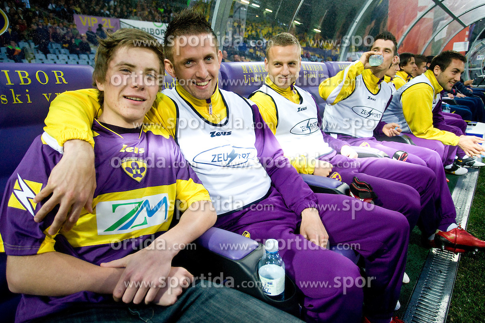 Gianluca, 12th player and Janez Aljancic of Maribor at Final football match  of Hervis Cup between NK Maribor and NK Domzale, on May 8, 2010, played in Ljudski vrt, Maribor, Slovenia. Maribor defeated Domzale after overtime 3-2 and became Slovenian Cup Champion. (Photo by Vid Ponikvar / Sportida)