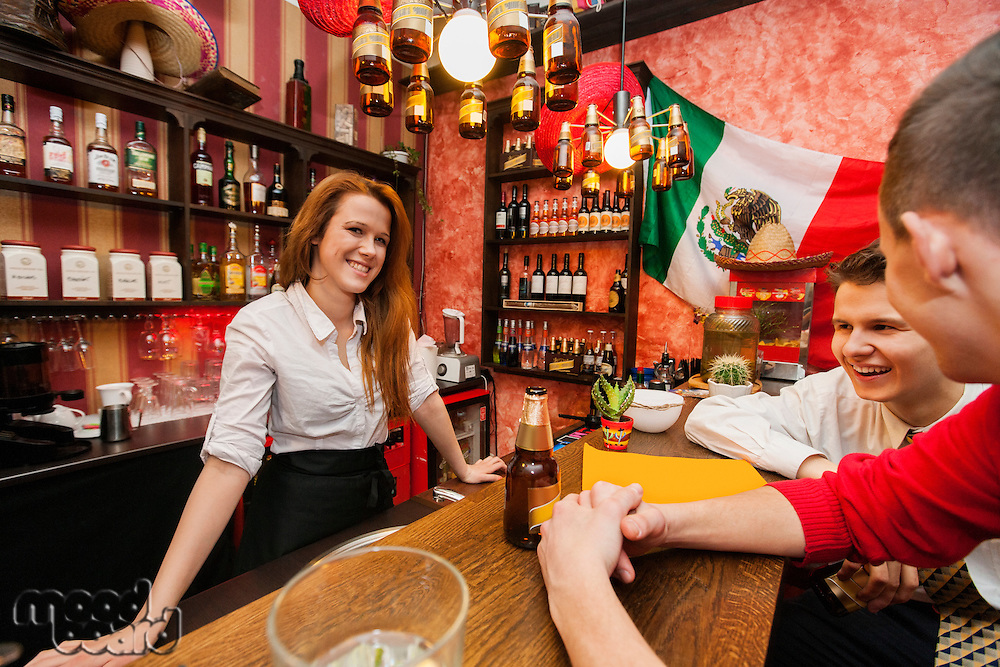 Female bartender with male customers at bar counter