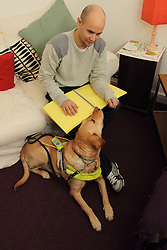 Man with guide dog reading a braille document.