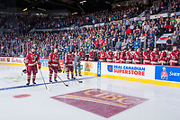 REGINA, SK - MAY 19: The Acadie-Bathurst Titan stand on the bench during the national anthem at the Brandt Centre on May 19, 2018 in Regina, Canada. (Photo by Marissa Baecker/CHL Images)
