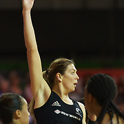 Irene van Dyk, New Zealand, in action in her 200th test match during the New Zealand V England, New World International Netball Series, at the ILT Velodrome, Invercargill, New Zealand. 6th October 2011. Photo Tim Clayton...