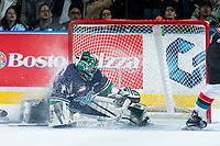 KELOWNA, CANADA - APRIL 25: Carl Stankowski #1 of the Seattle Thunderbirds makes a second period save against the Kelowna Rockets on April 25, 2017 at Prospera Place in Kelowna, British Columbia, Canada.  (Photo by Marissa Baecker/Shoot the Breeze)  *** Local Caption ***