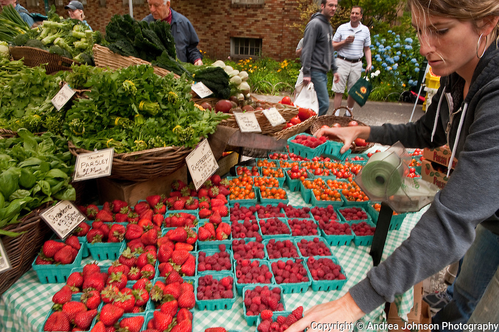 Fresh strawberries, raspberries, and blueberries at Portland Farmer's Market, Oregon