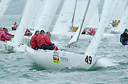 John Bertrand rounds the top mark in the last race of the 2002 Waiwera Infinity Water Etchells World Champs 9/11/2002 (© Chris Cameron 2002)