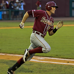 June 04, 2011; Tallahassee, FL, USA; Florida State Seminoles first baseman Jayce Boyd (16) hits a two run single during the third inning of the Tallahassee regional of the 2011 NCAA baseball tournament against the Alabama Crimson Tide at Dick Howser Stadium. Mandatory Credit: Derick E. Hingle