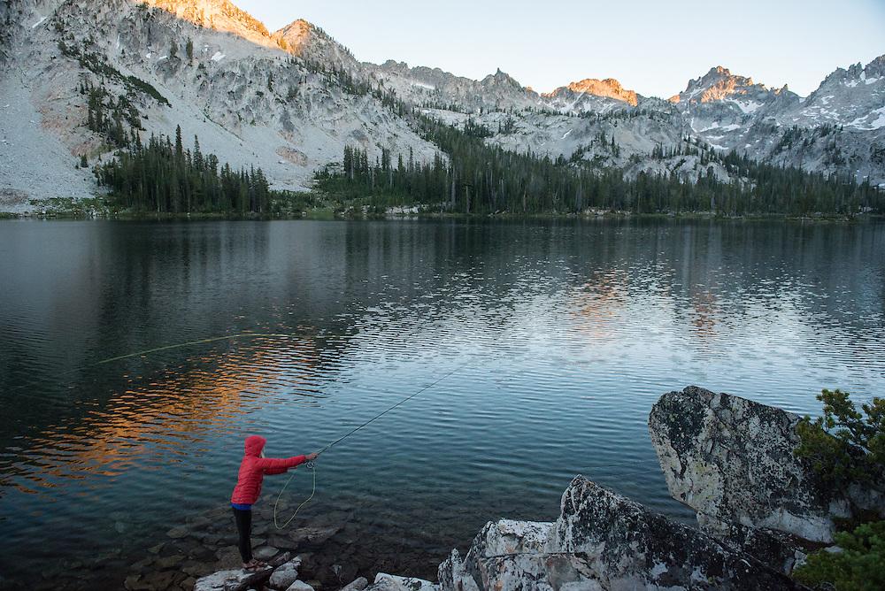 2016 JUL 20: Jillian Lukiwski backpacking and fishing in Idaho's Sawtooth mountain range near Stanley, ID.