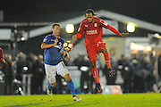 Andy Drury (8) of Eastleigh battles for possession with Nathan Delfouneso (23) of Swindon Town during the The FA Cup match between Eastleigh and Swindon Town at Arena Stadium, Eastleigh, United Kingdom on 4 November 2016. Photo by Graham Hunt.