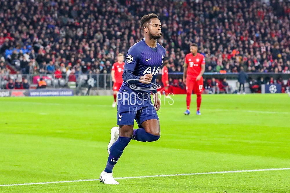 Goal! Tottenham Hotspur midfielder Ryan Sessegnon (19) scores a goal and celebrates 1-1 during the Champions League match between Bayern Munich and Tottenham Hotspur at Allianz Arena, Munich, Germany on 11 December 2019.