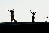 """Roma 7 Settembre 2014<br /> Protesta al Cie di Ponte Galeria contro i lunghi tempi di permanenza nella struttura del centro di identificazione ed espulsione. Gli   immigrati """"ospiti"""" del centro di identificazione ed espulsione sono saliti sul tetto della struttura e gridano: """"Liberi, liberi"""". <br /> Rome September 7, 2014 <br /> Protest the Center for Identification and Expulsion (CIE) for immigrants from Ponte Galeria in Rome, against the long residence time in the structure of the center for identification and expulsion. Immigrants 'guests' of the center for identification and expulsion climbed on the roof of the structure and cry: """"Free, free."""""""