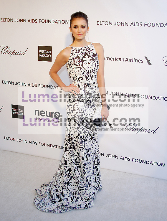 Nina Dobrev at the 21st Annual Elton John AIDS Foundation Academy Awards Viewing Party held at the Pacific Design Center in West Hollywood on February 24, 2013 in Los Angeles, California. Credit: Lumeimages.com