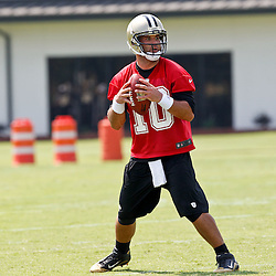 June 6, 2012; Metairie, LA, USA; New Orleans Saints quarterback Chase Daniel (10) during a minicamp session at the team's practice facility. Mandatory Credit: Derick E. Hingle-US PRESSWIRE
