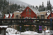Ski resort shops and lodging fill lower village at Whistler, British Columbia, Canada.