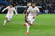 GOAL - Manchester United Forward Marcus Rashford celebrates his penalty 1-3 during the Champions League Round of 16 2nd leg match between Paris Saint-Germain and Manchester United at Parc des Princes, Paris, France on 6 March 2019.