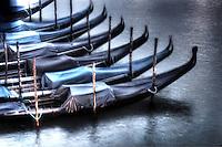 Gondolas moored up. Venice, Italy