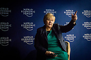 Norwegian Prime Minister Erna Solberg (H) at a press conference at the WEF - World Economic Forum in Davos.