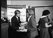 Typist Of The Year.1983.17.11.1983.11.17.1983.17th november 1983..Ms Paula Sommers won the award of Typist Of The Year which was jointly sponsored by The Irish Times and B & I Lines..Photo of Mr Des Bury,General Manager,Irish Times Training Services,presenting Paula with her prize.The award ceremony was held at the Irish Times,Training Centre , Nth Frederick Street,Dublin.