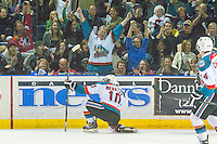 KELOWNA, CANADA - MARCH 27: Nick Merkley #10 of Kelowna Rockets celebrates a goal against the Tri-City Americans on March 27, 2015 at Prospera Place in Kelowna, British Columbia, Canada.  (Photo by Marissa Baecker/Shoot the Breeze)  *** Local Caption *** Nick Merkley;