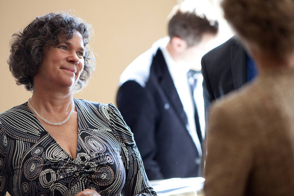 Leipzig University President Beate A. Schücking socializes during the memorandum reception. Leipzig University President Beate A. Schücking and Ohio University President McDavis renewed a Memorandum of Understanding between LU and Ohio University in the Multicultural Center's multipurpose room in Baker Center on Monday, September 24, 2012..Photo by Chris Franz