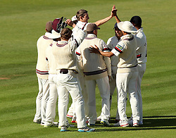 Somerset's Craig Overton celebrates the wicket of Hampshire's Danny Briggs - Photo mandatory by-line: Robbie Stephenson/JMP - Mobile: 07966 386802 - 22/06/2015 - SPORT - Cricket - Southampton - The Ageas Bowl - Hampshire v Somerset - County Championship Division One