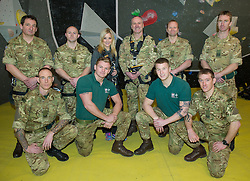 Royal Marines abseil down BT Tower. the BT Tower, London, United Kingdom. Embargoed until Monday, 17th February 2014. Picture by Anthony Upton / i-Images<br />
