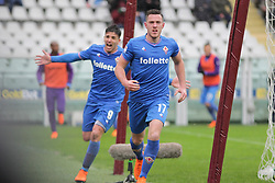 March 18, 2018 - Turin, Piedmont, Italy - Jordan Veretout (ACF Fiorentina) celebrates after scoring the opening goal during the Serie A football match between Torino FC and ACF Fiorentina at Olympic Grande Torino Stadium on 18 March, 2018 in Turin, Italy. Final results: 1-2  (Credit Image: © Massimiliano Ferraro/NurPhoto via ZUMA Press)