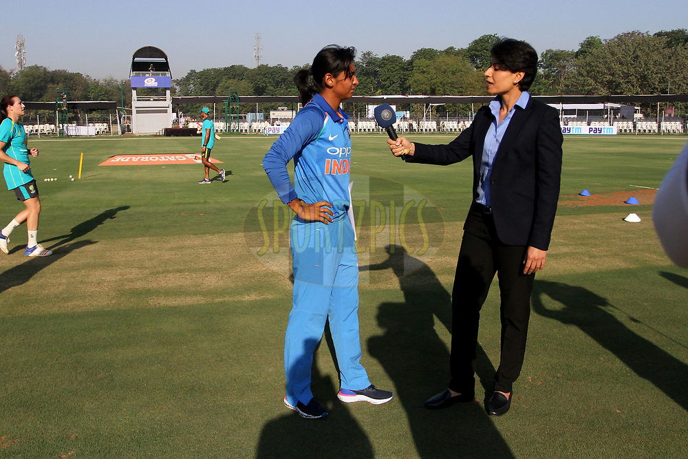 Harmanpreet Kaur of India during the toss of the first women's one day International ( ODI ) match between India and Australia held at the Reliance Cricket Stadium in Vadodara, India on the 12th March 2018<br /> <br /> Photo by Vipin Pawar / BCCI / SPORTZPICS