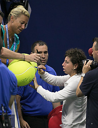 September 5, 2018 - Flushing Meadows, New York, U.S - Carla Suarez Navarro signs autographs after her match against Madison Keys on Day 10 of the 2018 US Open at USTA Billie Jean King National Tennis Center on Wednesday September 5, 2018 in the Flushing neighborhood of the Queens borough of New York City. (Credit Image: © Prensa Internacional via ZUMA Wire)