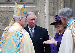© London News Pictures. 21/03.2013. The Prince of Wales and the Duchess of Cornwall exits Canterbury Cathedral after they attend the enthronment of the new Archbishop of Canterbury the Most Rev. Justin Welby at Canterbury Cathedral in Canterbury, Kent. Photo credit should read Manu Palomeque/LNP