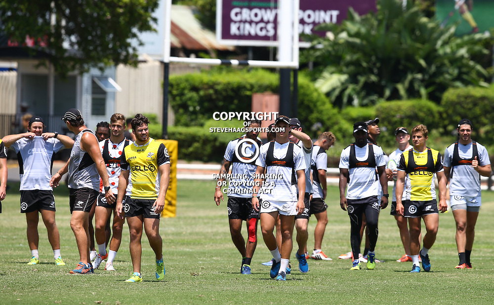Curwin Bosch with the team during The Cell C Sharks training KP2 Pre Season training, session at Growthpoint Kings Park in Durban, South Africa. January 12th 2016 (Photo by Steve Haag)<br /> <br /> images for social media must have consent from Steve Haag