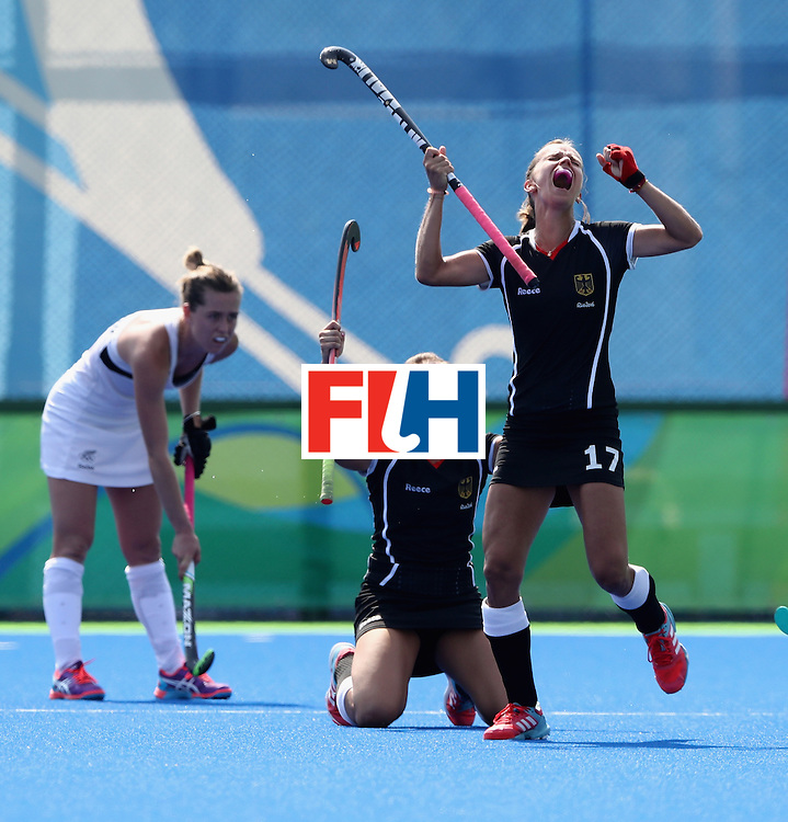 RIO DE JANEIRO, BRAZIL - AUGUST 19:  Jana Teschke (number 17) of Germany celebrates their 2-1 victory during the Bronze medal match between Germany and New Zealand on Day 14 of the Rio 2016 Olympic Games held at the Olympic Hockey Centre on August 19, 2016 in Rio de Janeiro, Brazil.  (Photo by David Rogers/Getty Images)