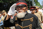 Dressed in Edo-period military garb, Hakugaku Kuribayashi, who is in his 80s, leads a march to prayer during events to commemorate the anniversary of the end of World War II at Yasukuni Shrine in Tokyo, Japan on 15 Aug. 2008. Aug. 15 marked the 64th anniversary of Japan's surrender in the Pacific War.