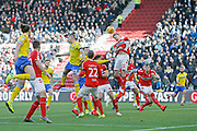 Middlesbrough forward Jordan Hugill (11) heads clear during the EFL Sky Bet Championship match between Middlesbrough and Leeds United at the Riverside Stadium, Middlesbrough, England on 9 February 2019.