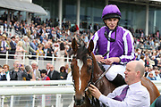 JAPAN (8) ridden by Ryan Moore and trained by Aidan O'Brien is paraded in front of the grandstands after winning The Group 1 Juddmonte International Stakes over 1m 2f (£1,062,500)  during the Ebor Festival at York Racecourse, York, United Kingdom on 21 August 2019.