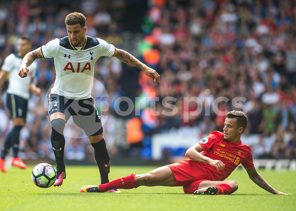 Kyle Walker of Tottenham Hotspur and Philippe Coutinho of Liverpool during the Premier League match between Tottenham Hotspur and Liverpool at White Hart Lane, London, England on 27 August 2016. Photo by Vince  Mignott.