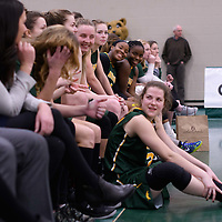 1st year guard Kyia Giles (6) of the Regina Cougars during the 5th year night on February  11 at Centre for Kinesiology, Health and Sport. Credit: Arthur Ward/Arthur Images