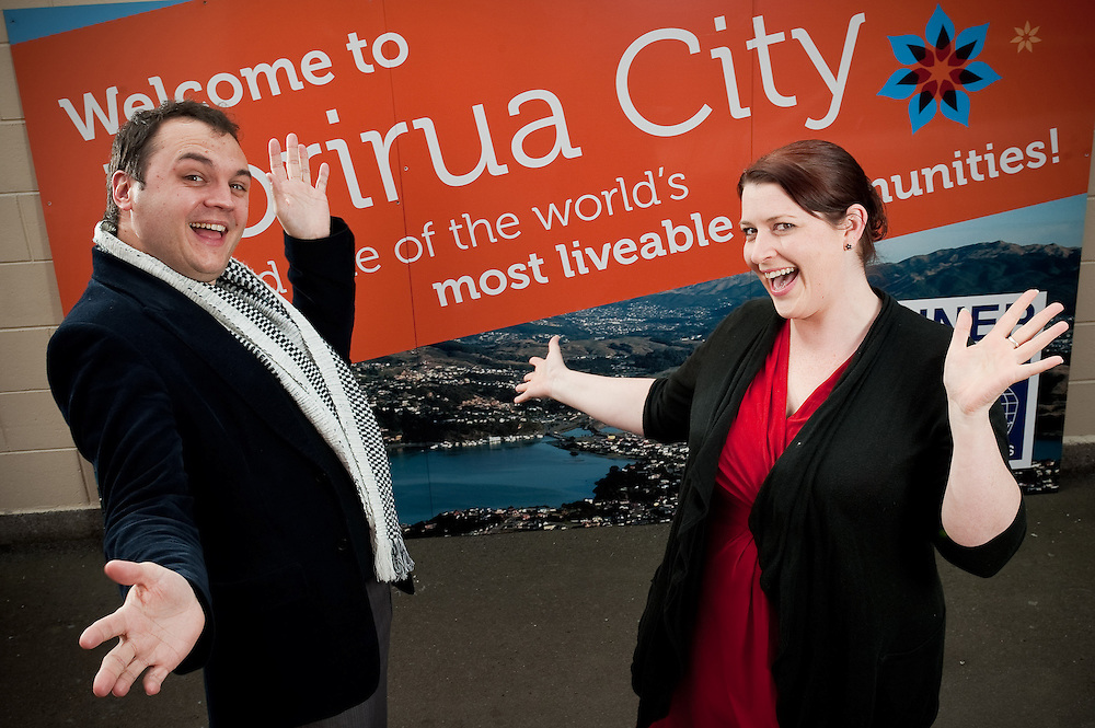 "Porirua Mayor Nick Leggett and Chamber of commerce CE Holly Thompson to illustrate the partnership and co-operation they have for ""Mayoral Porirua Showcase"" event publication. Friday July 22, 2011...Photo by Mark Tantrum 