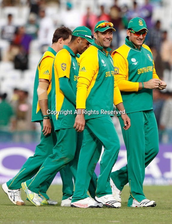 03.03.2011 Cricket World Cup from the Punjab Cricket Association Stadium, Mohali in Chandigarh. West indies v Netherlands. The South African team celebrates their victory after the match of the ICC Cricket World Cup against the Netherlands.