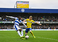 Football - 2018 / 2019 FA Cup - Third Round: Queens Park Rangers vs. Leeds United<br /> <br /> Queens Park Rangers' Bright Osayi-Samuel crosses despite the attentions of Leeds United's Ezgjan Alioski, at Loftus Road.<br /> <br /> COLORSPORT/ASHLEY WESTERN