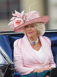LONDON- UK - 14-JUNE-2014: The annual Trooping the Colour Ceremony for Queen Elizabeth;s Birthday is held in London. Members of the royal family travel by carriage from Buckingham Palace to Horseguards Parade for the Trooping Ceremony.<br /> HRH The Duchess of Cornwall<br /> Photograph by Ian Jones