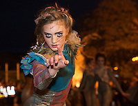 25/10/2015  Dancer in the Macnas parade on the streets of Galway.<br />  &lsquo;The Shadow Lighter&rsquo; featured the new Macnas character of Danu &ndash; a 15 ft high wild woman, the shadow lighter mistress of old stories, magic and medicine. Alongside her walked Danu&rsquo;s spirit animal, The Wolf of Danu, a beautiful, strong and fierce wolf, circling around Danu to protect her.  <br /> <br /> DUBLIN MONDAY NIGHT.<br /> Macnas will close the Bram Stoker Festival at twilight on Monday 26th October. In what is set to be another breath-taking citywide procession, Dublin&rsquo;s city streets will transform as the journey of Danu takes place, beginning in 3 city centre locations at 5.30pm with a final gathering in Wolfe Tone Square. This is a deadly adventure given life on the streets of Dublin.  Procession routes will be available to see and download from bramstokerfestival.com .Photo:Andrew Downes, xposure