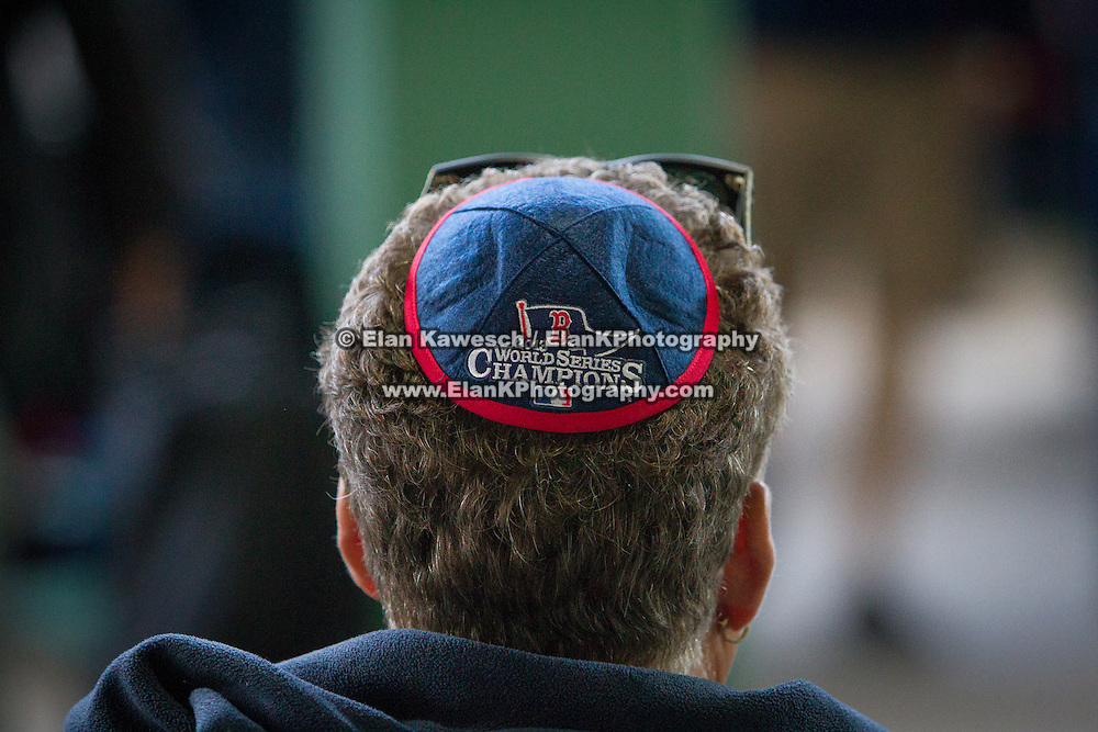 A man is seen wearing a Red Sox Kippah during Fenway Park's Jewish Heritage Night at the game between the Atlanta Braves and the Boston Red Sox at Fenway Park on May 29, 2014 in Boston, Massachusetts. (Photo by Elan Kawesch/Times of Israel)