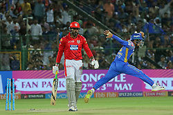 May 8, 2018 - Jaipur, Rajasthan, India - Rajasthan Royals team players celebrate the wicket of Chris Gayle during the IPL T20 match against Kings XI Punjab at Sawai Mansingh Stadium in Jaipur,Rajasthan,India on 8th May,2018.(Photo By Vishal Bhatnagar/NurPhoto) (Credit Image: © Vishal Bhatnagar/NurPhoto via ZUMA Press)