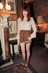 Singer FLORENCE WELCH at a party to celebrate the publication of Imperial Bedrooms by Bret Easton Ellis held at Mark's Club, 46 Charles Street, London W1 on 15th July 2010.
