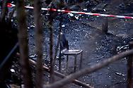 Roma, 9 Aprile  2015<br /> Incendio in un campo rom a via del Cappellaccio alla Magliana, fra i resti di una baracca andata a fuoco è stato trovato il corpo carbonizzato di un romeno di 27 anni. La polizia scientifica non esclude l'incendio doloso.<br /> Rome, April 9, 2015<br /> Fire in a Roma camp in via the Cappellaccio to Magliana, among the remains of a hut burned down was found the charred body of a Romanian of 27 years. The police scientific does not exclude arson.