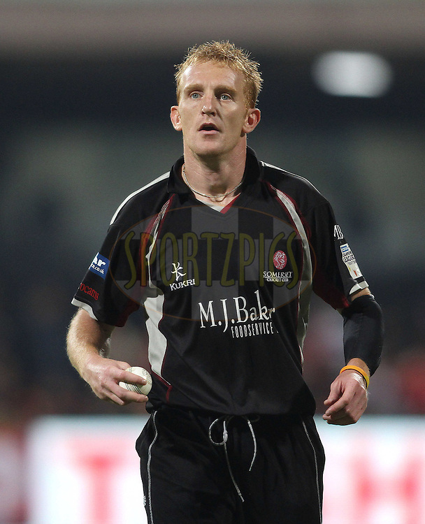 Steven Kirby of Somerset during match 16 of the NOKIA Champions League T20 ( CLT20 ) between the Royal Challengers Bangalore and Somerset held at the  M.Chinnaswamy Stadium in Bangalore , Karnataka, India on the 3rd October 2011..Photo by Shaun Roy/BCCI/SPORTZPICS