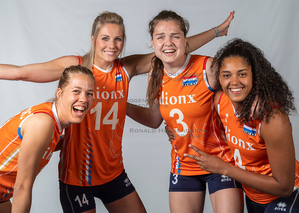 10-05-2018 NED: Team shoot Dutch volleyball team women, Arnhem<br /> Femke Stoltenborg #2 of Netherlands, Laura Dijkema #14 of Netherlands, Celeste Plak #4 of Netherlands, Yvon Belien #3 of Netherlands