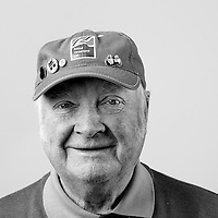Adam Brownlie, Royal Airforce, Electronics/Radar Technician, Junior Technician, 1953-1955.  Adam is registered blind and is a regular visitor to the Scottish War Blinded centre.  Veterans Portrait Project UK, Edinburgh, Scotland.